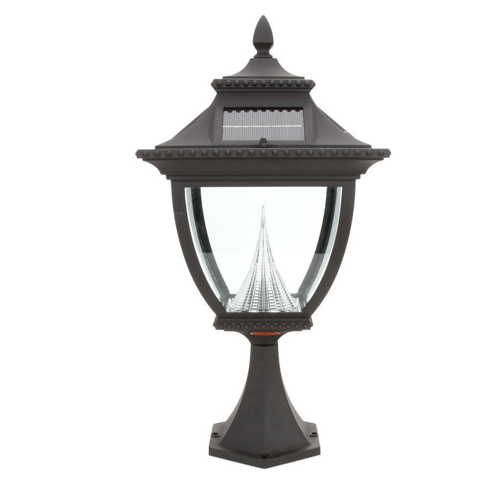 Pagoda Solar Black Outdoor LED Post Light on Pier Base