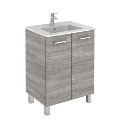 Logic 27.6 in. W x 18.0 in. D x 33.0 in. H Bath Vanity in Sandy Grey with Vanity Top and Ceramic White Basin