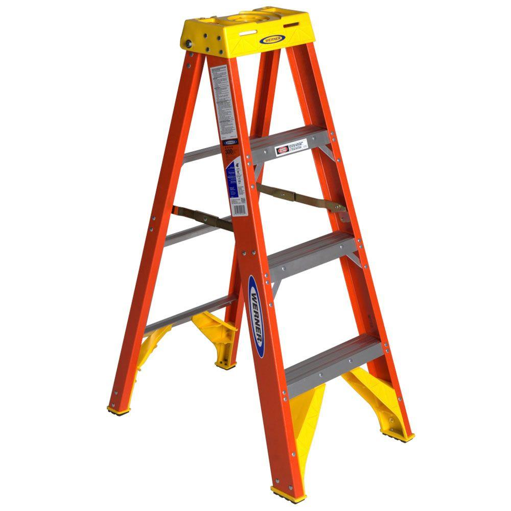 WERNER 4 ft. Fiberglass Step Ladder with 300 lbs. Load Capacity Type IA
