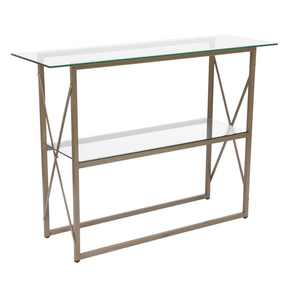 Flash Furniture Clear Matte Gold Coffee Table Cga Nan 216250 Cl Hd The Home Depot