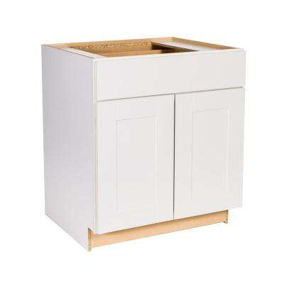 Princeton Shaker Assembled 30x34.5x24 in. Base Cabinet with Soft Close Drawer in Warm White