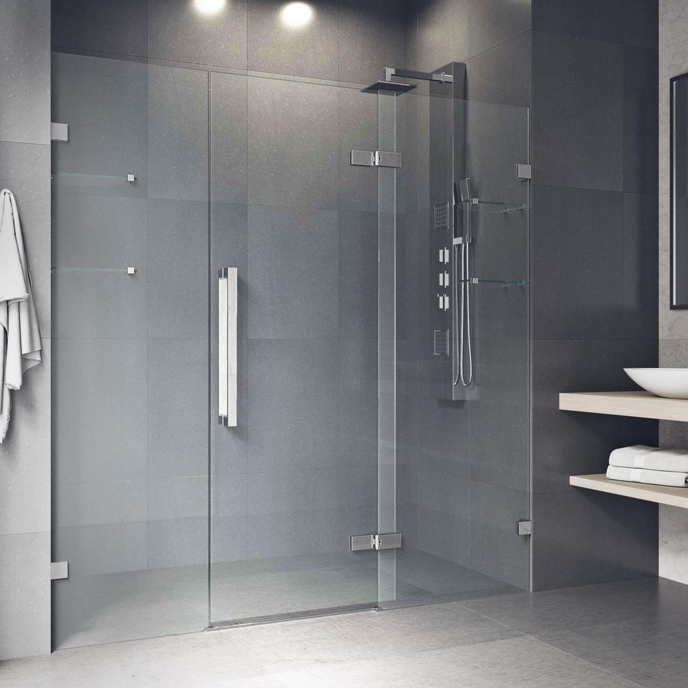 Vigo Seneca 7275 In X 74 In Frameless Hinged Shower Door In