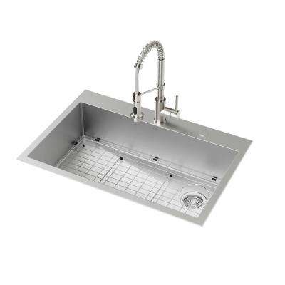 All-In-One Drop-In/Undermount Stainless Steel 33 in. 2-Hole Single Bowl Kitchen Sink with Faucet in Stainless Steel