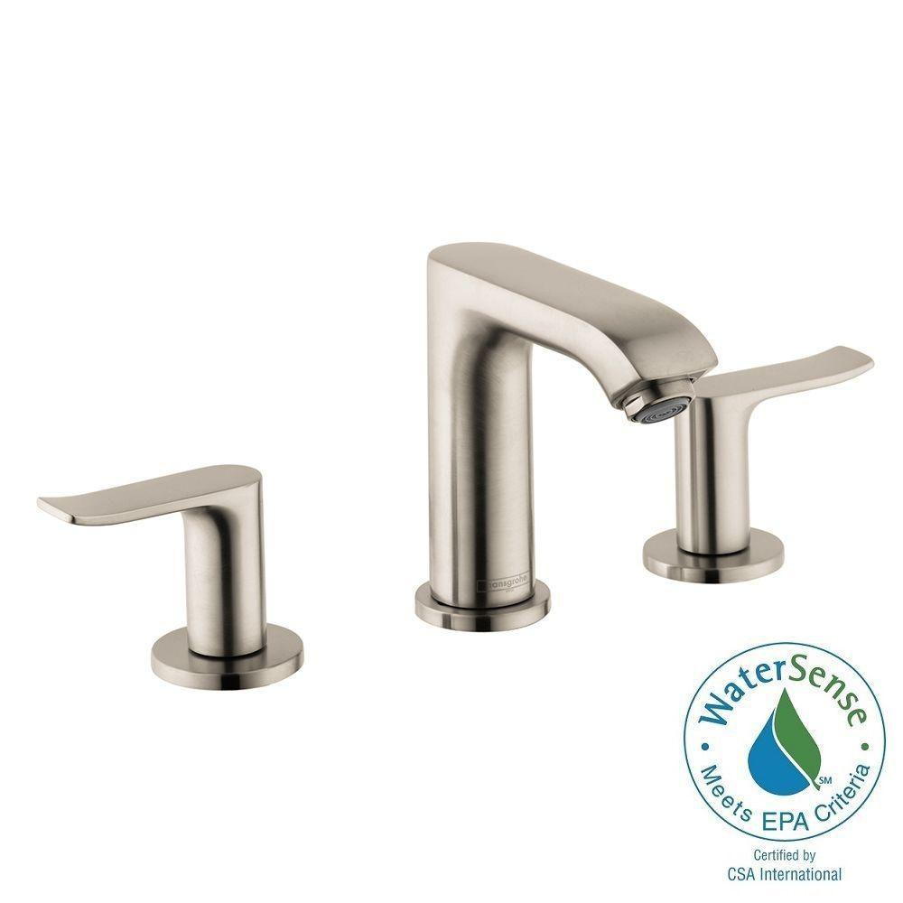 Hansgrohe Metris 8 in. Widespread 2-Handle Low-Arc Bathroom Faucet ...