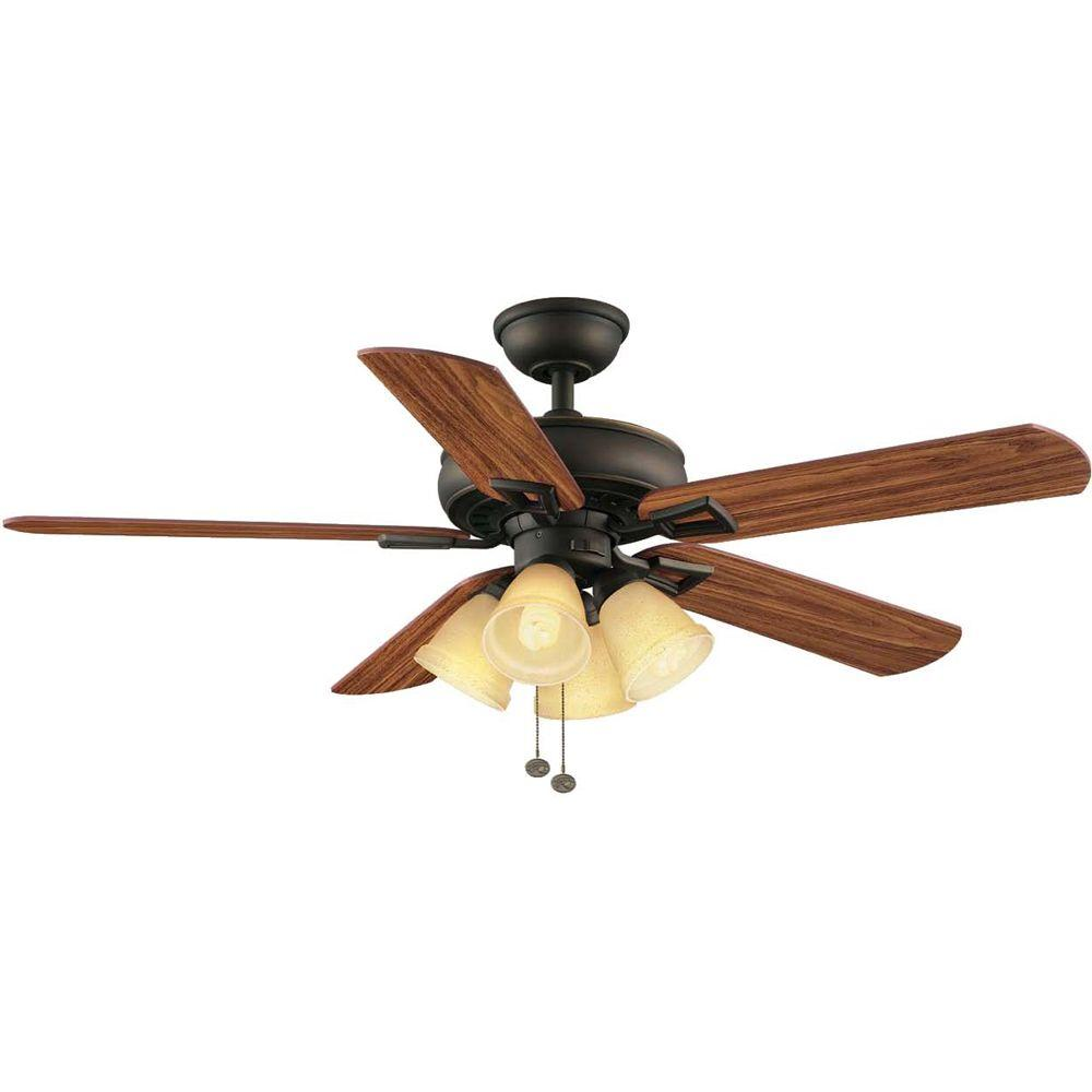 Hampton Bay Lyndhurst 52 in. Indoor Oil-Rubbed Bronze Ceiling Fan with Light Kit