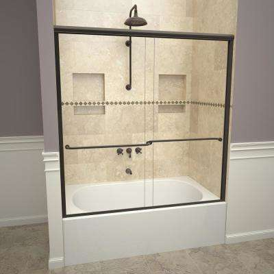 1200 Series 58-1/2 in. W x 57 in. H Semi-Frameless Sliding Tub Doors in Oil Rubbed Bronze with Towel Bar and Clear Glass