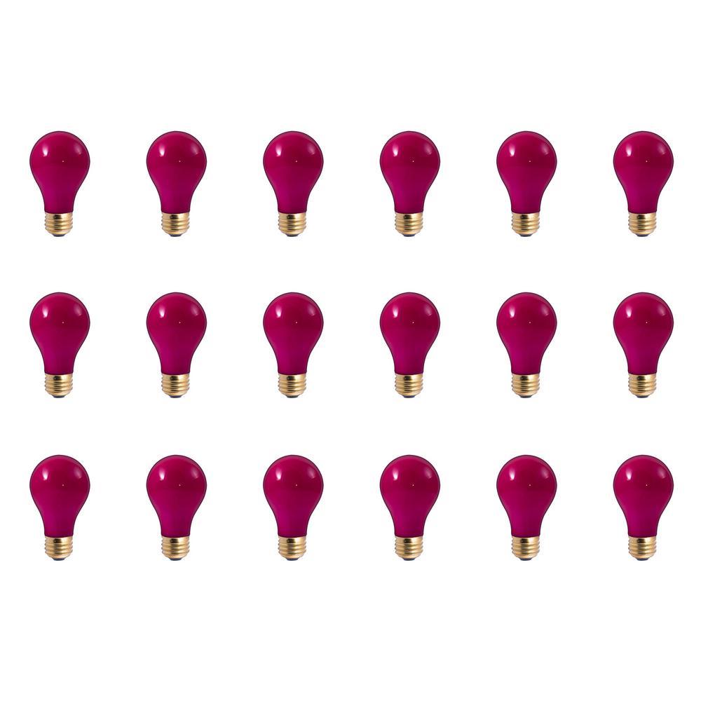 60-Watt A19 Ceramic Pink Dimmable Incandescent Light Bulb (18-Pack)