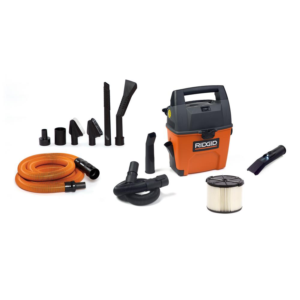 RIDGID 3 Gal. 3.5-Peak HP Portable Wet/Dry Shop Vacuum with Built-in Dust Pan, LED Lighted Car Nozzle and Car Cleaning Kit, Oranges/Peaches was $109.0 now $79.0 (28.0% off)