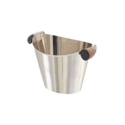 Silver Stainless Steel Oval Wine Cooler with Animal Horn Handles
