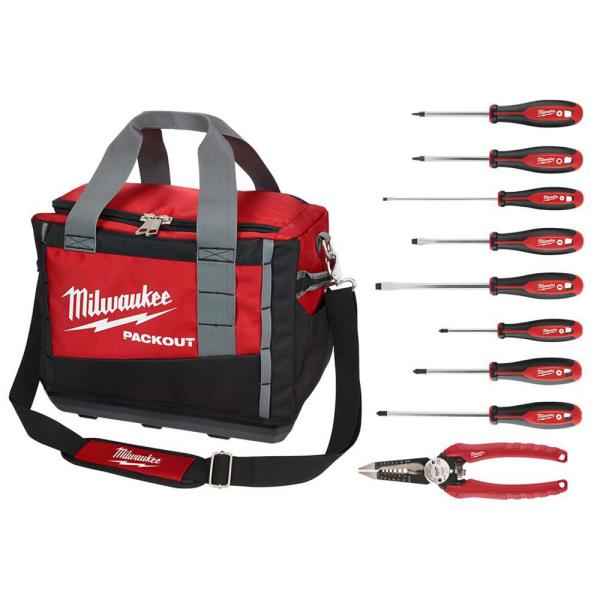 15 in. PACKOUT Tool Bag with 6-in-1 Wire Strippers Pliers and Screwdriver Set (9-Piece)