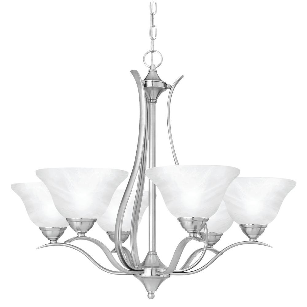 Thomas lighting prestige 6 light brushed nickel hanging chandelier thomas lighting prestige 6 light brushed nickel hanging chandelier arubaitofo Choice Image