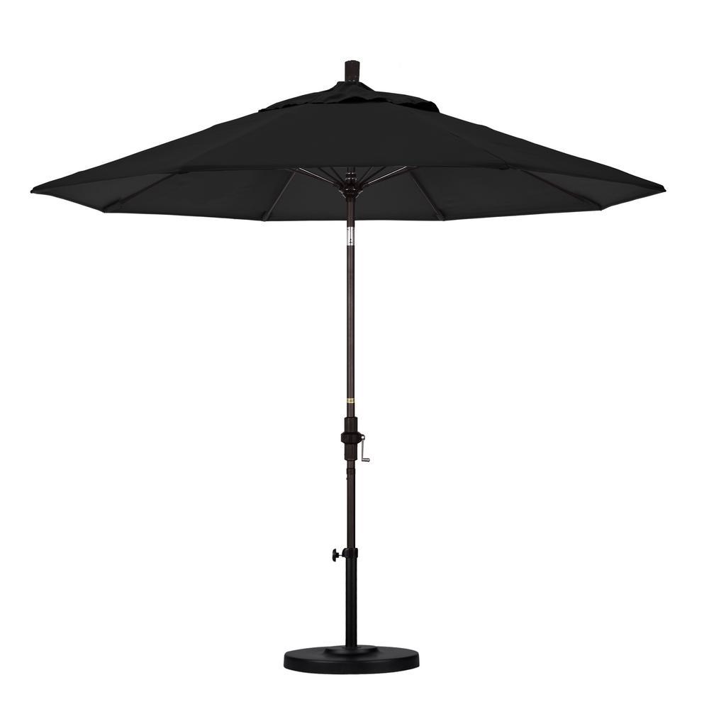 9 ft. Bronze Aluminum Market Patio Umbrella with Fiberglass Ribs Collar Tilt Crank Lift  in Black Sunbrella