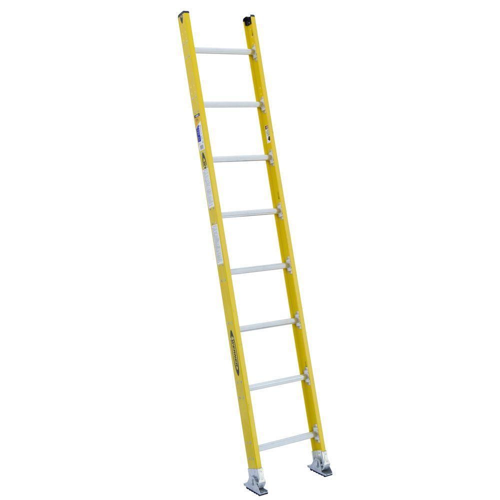 Werner 8 Ft Fiberglass Round Rung Straight Ladder With