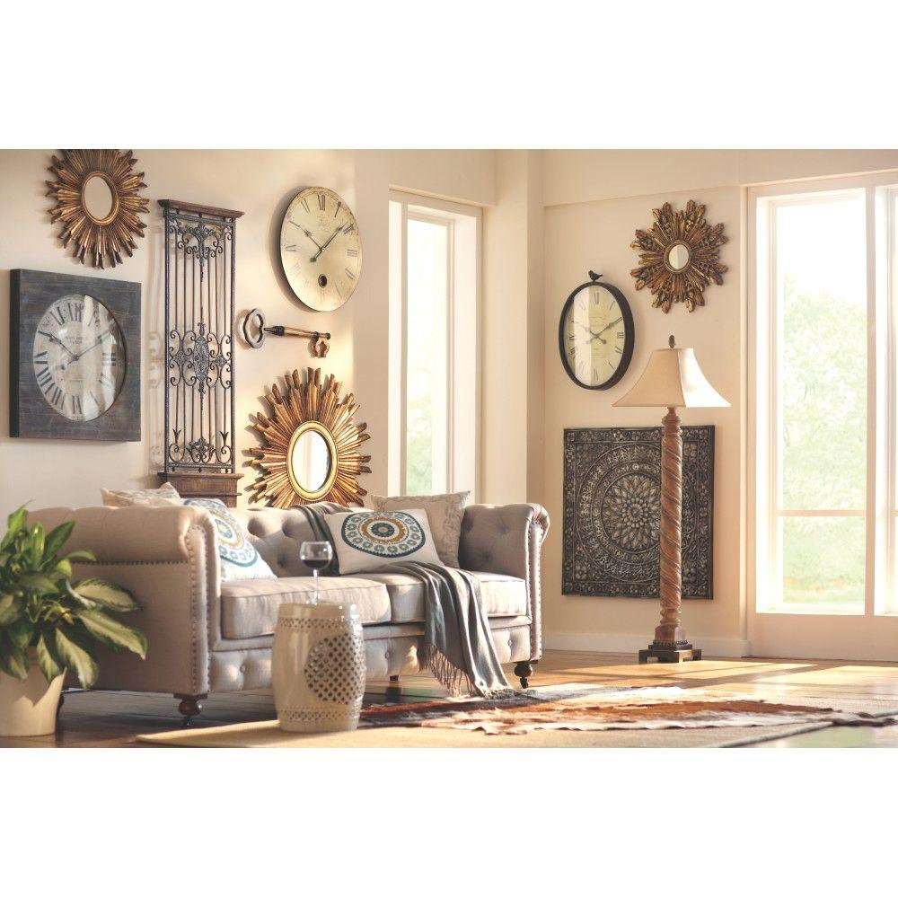 Captivating Square Metal Wall Decor In Metallic 80951   The Home Depot