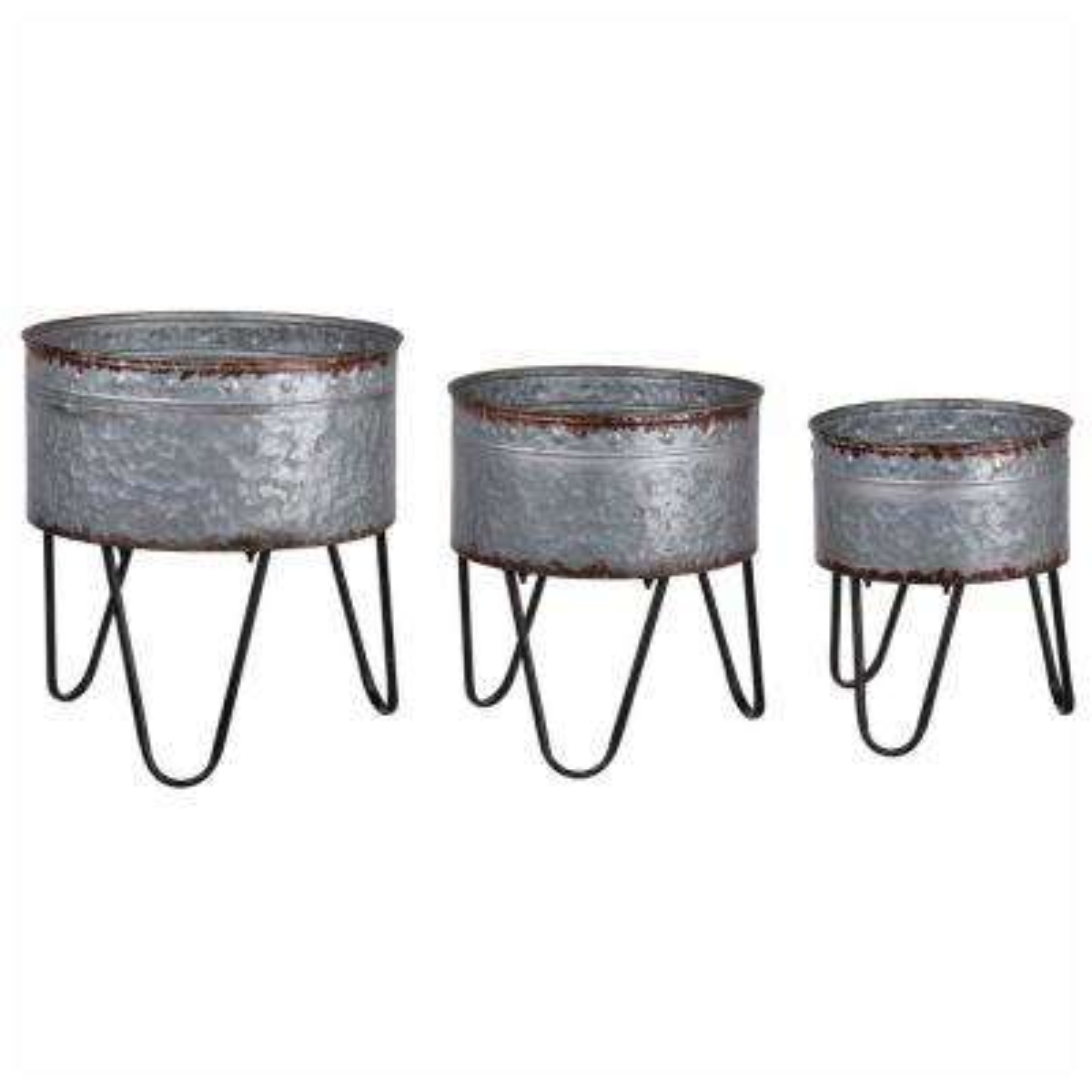 Preferable Gray Metal Tubs Planters (Set of 3)