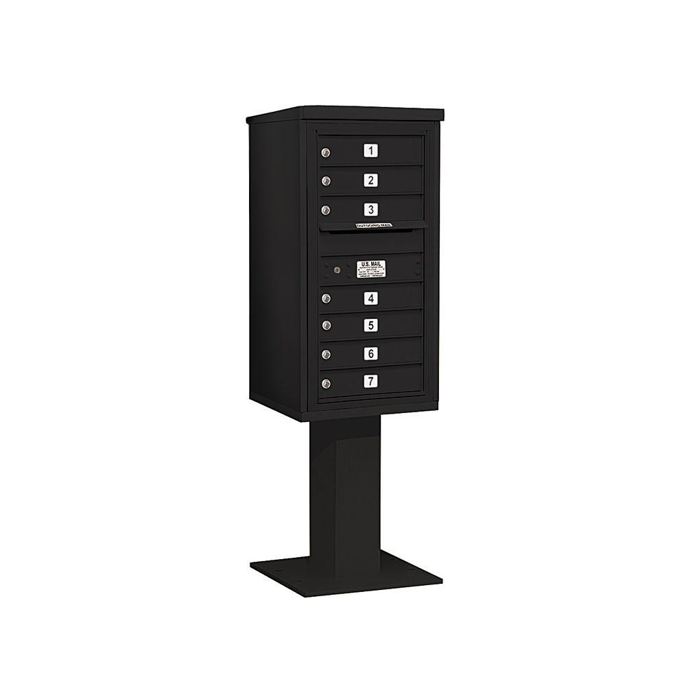 Salsbury Industries 3400 Series 62-1/8 in. 9 Door High Unit Black 4C Pedestal Mailbox with 7 MB1 Doors
