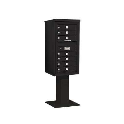 3400 Series 62-1/8 in. 9 Door High Unit Black 4C Pedestal Mailbox with 7 MB1 Doors