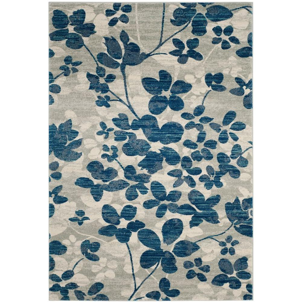 Evoke Gray Light Blue 8 Ft X 10 Area Rug