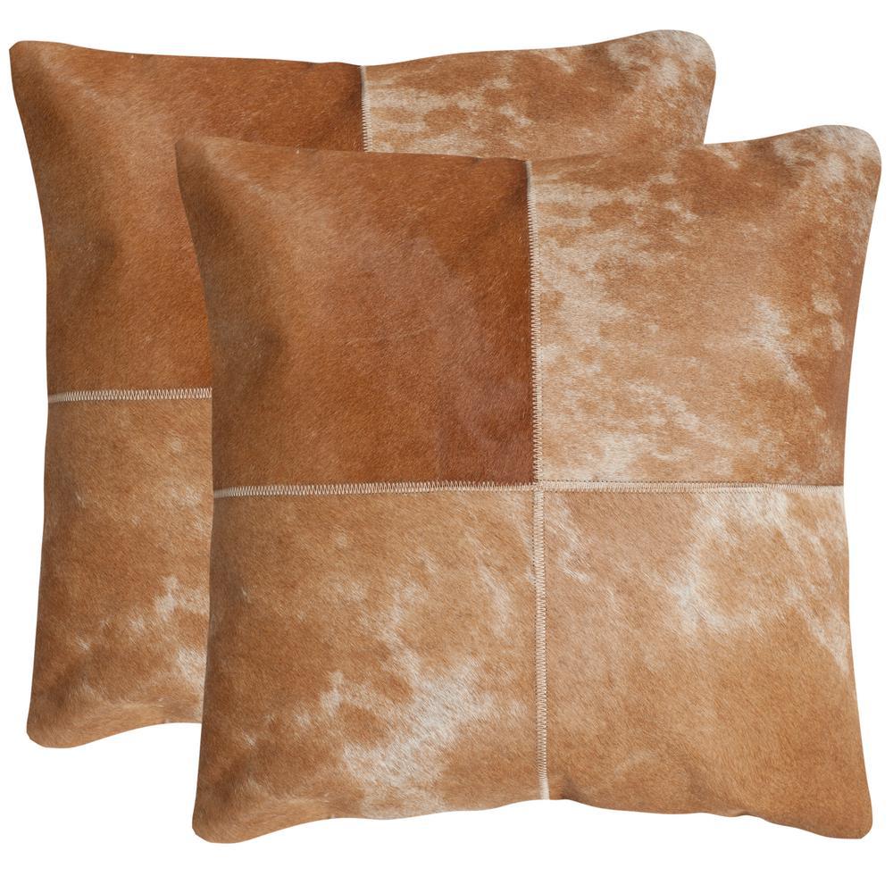 Safavieh Selma Cowhide Pillow (2-Pack), Tan