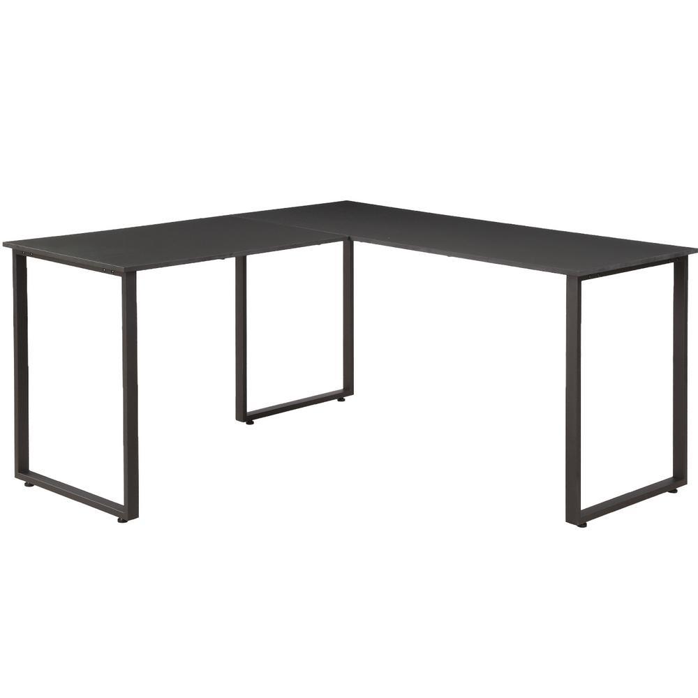 Merax Black L-Shaped Workstation Laptop Table Corner Desk MF189576AAB