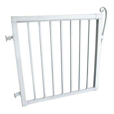 3-5/6 ft. x 3-1/3 ft. Single Walk Through Aluminum Picket Fence Gate in White