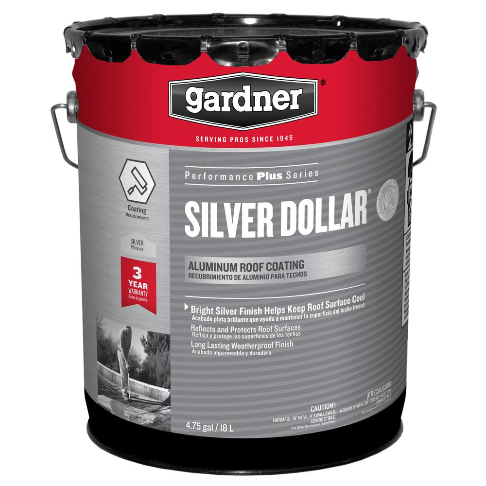 Gardner 4 75 Gal  Silver Dollar Aluminum Reflective Roof Coating
