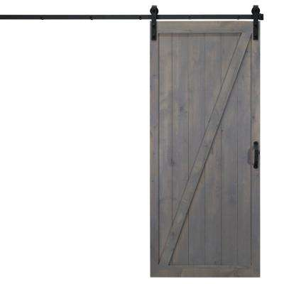 36 in. x 84 in. Classic Z Ash Gray Alder Wood Interior Barn Door Slab with Sliding Door Hardware Kit