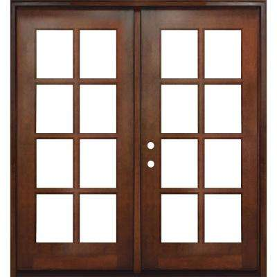 64 in. x 80 in. Craftsman Richmond 8-Lite Right-Hand Inswing Chestnut Mahogany Wood Prehung Front Door
