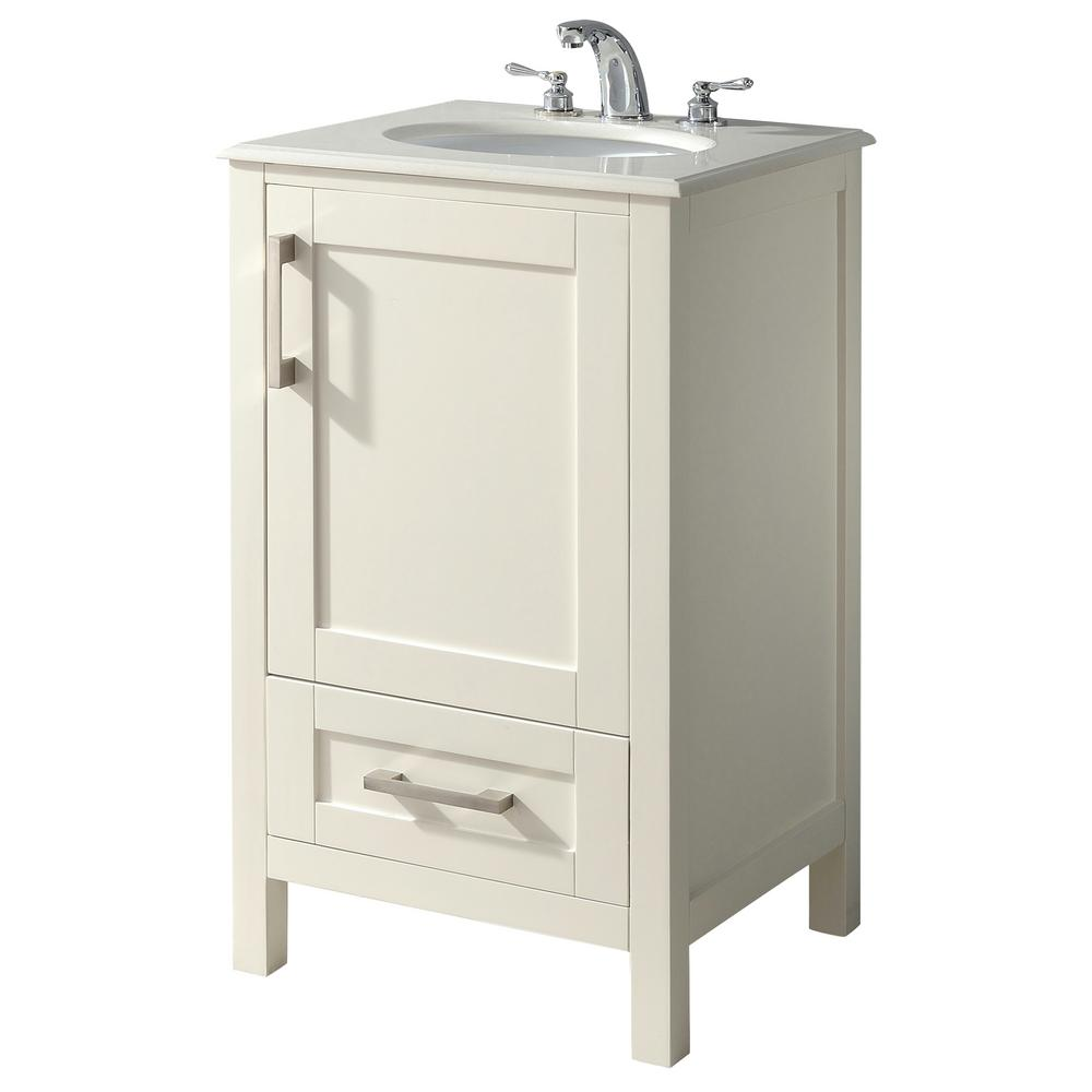 Simpli Home Westbridge 20 In Bath Vanity In Soft White With Quartz