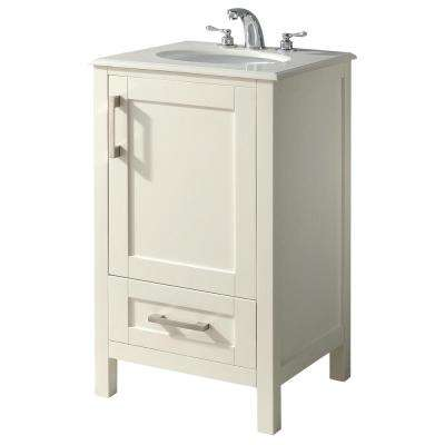 Westbridge 20 in. Bath Vanity in Soft White with Quartz Marble Vanity Top in Bombay White with White Basin