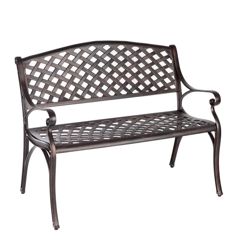 Superior Patio Sense Antique Bronze Cast Aluminum Patio Bench