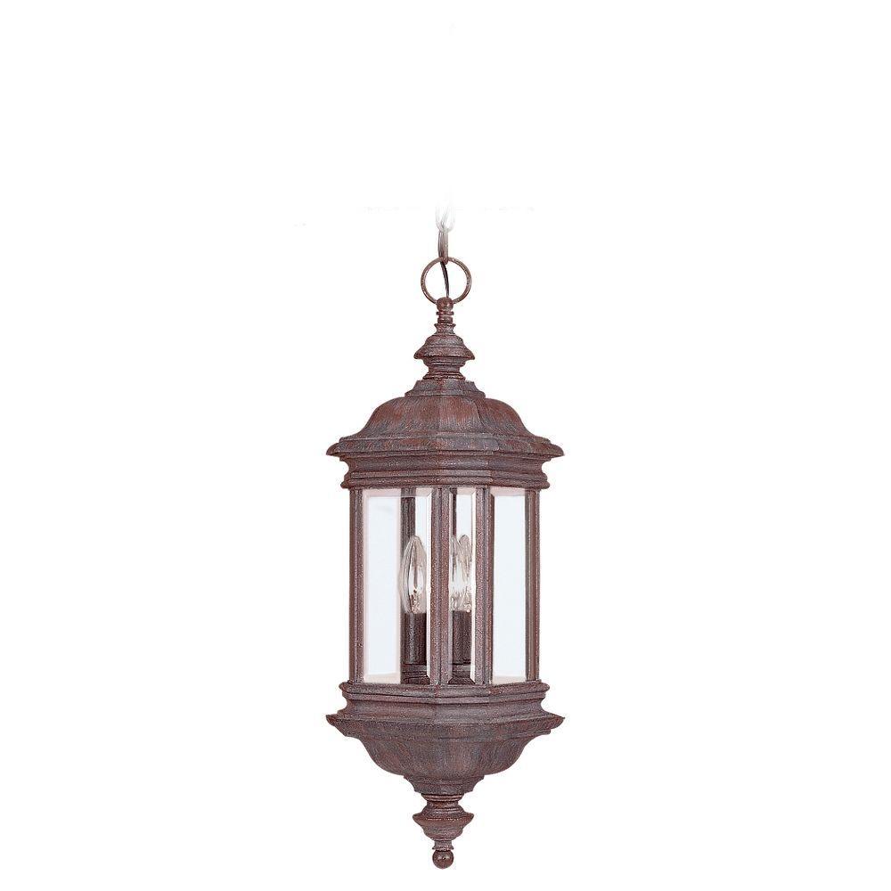 Sea Gull Lighting Hill Gate 3-Light Outdoor Textured Rust Patina Hanging Pendant Fixture