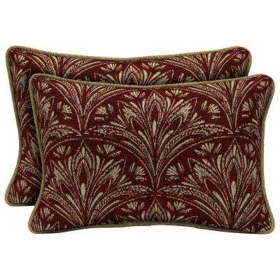 Royal Zanzibar Berry Lumbar Outdoor Throw Pillow with Welt (2-Pack)