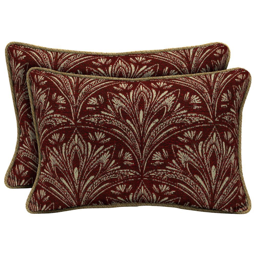 Royal Zanzibar Berry Lumbar Outdoor Throw Pillow with Welt (2-Pack)