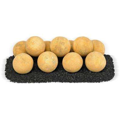 18 in. x 6 in. Sundance Yellow Uniform Set, 11-4 in. Lite Stone Balls with 5 lbs. Small Lava Rock