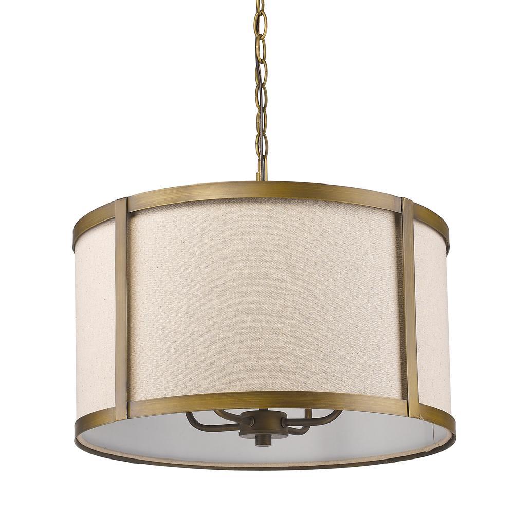 Acclaim Lighting Jessica Indoor 4-Light Raw Brass Pendant with Fabric Shade