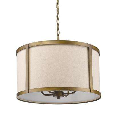 Jessica Indoor 4-Light Raw Brass Pendant with Fabric Shade
