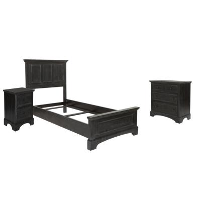 Farmhouse Basics Twin Bed Set with Chest of Drawers and Nightstand in Rustic Black - 5 pieces