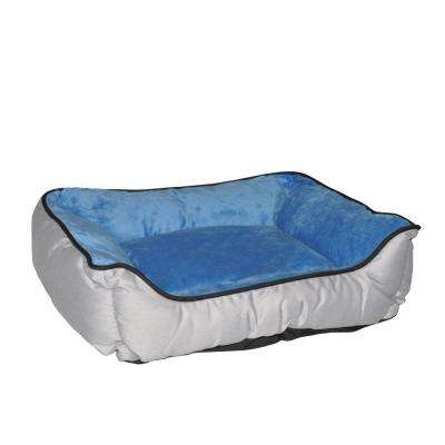 Lounge Sleeper Small Gray/Blue Self-Warming Dog Bed