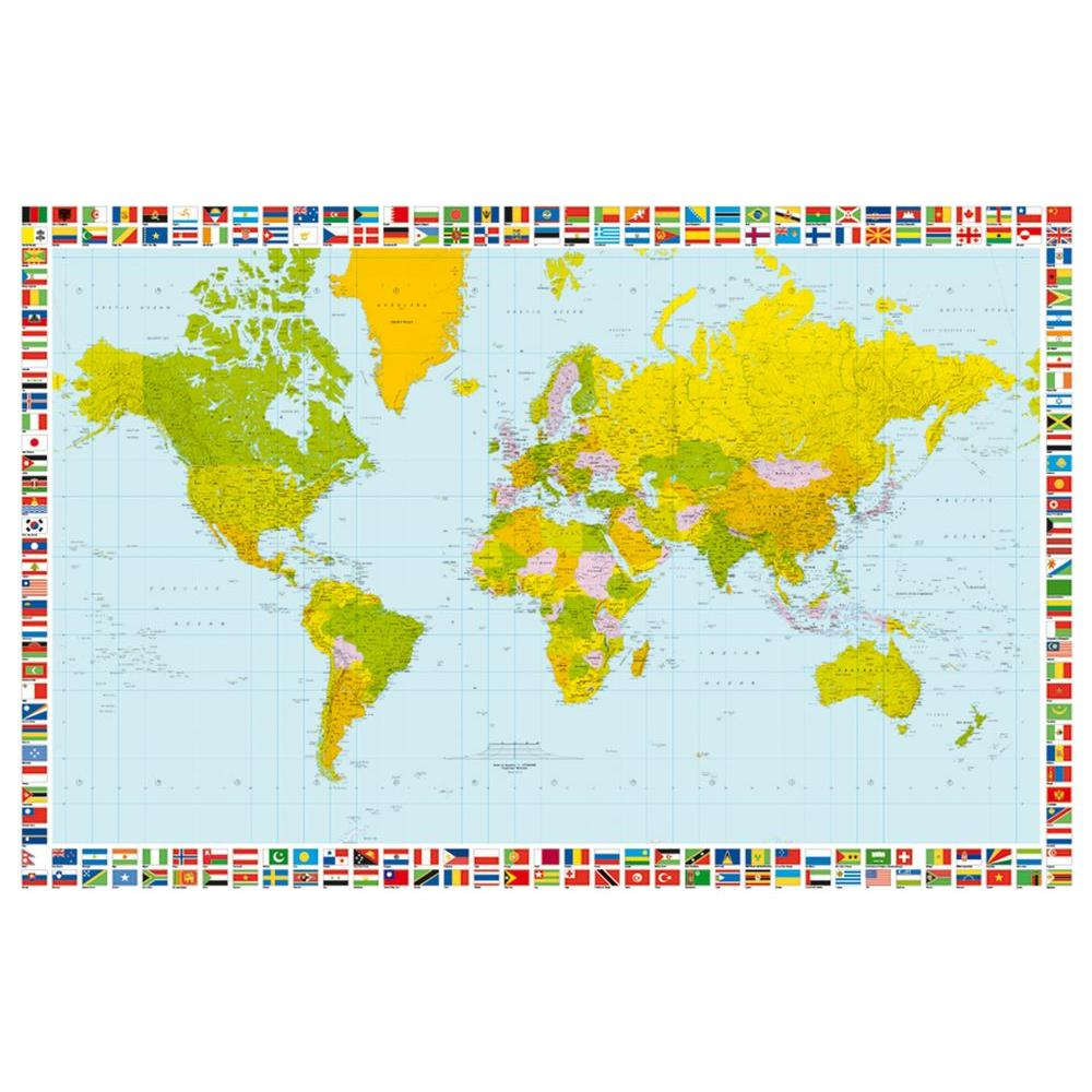 Ideal Decor 45 in. x 69 in. Map of The World Wall Mural