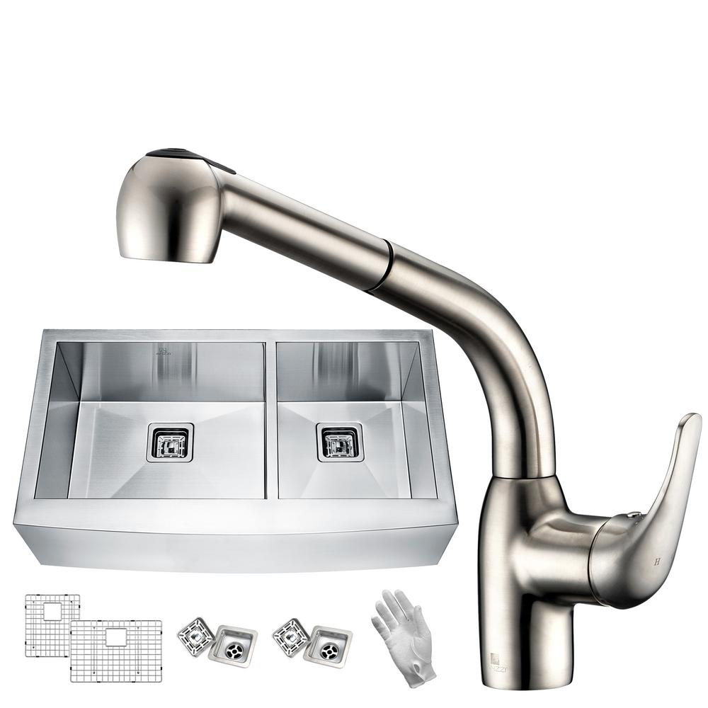 Anzzi elysian farmhouse stainless steel 33 in 60 40 for Best kitchen faucet for double sink