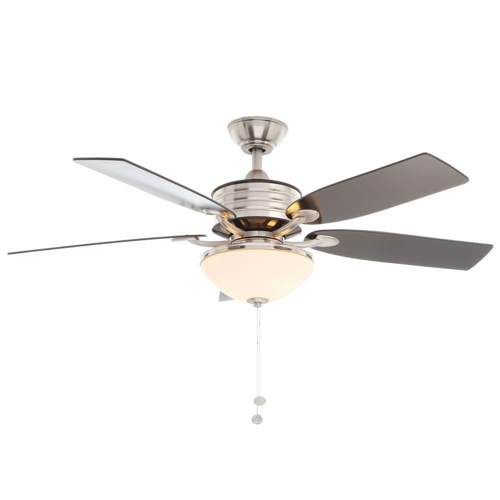 Hampton Bay Santa Cruz 52 in. Indoor Brushed Nickel Ceiling Fan with Black Accents and Light Kit
