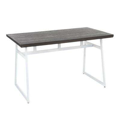 Geo Industrial Vintage White Metal and Espresso Wood Dining Table