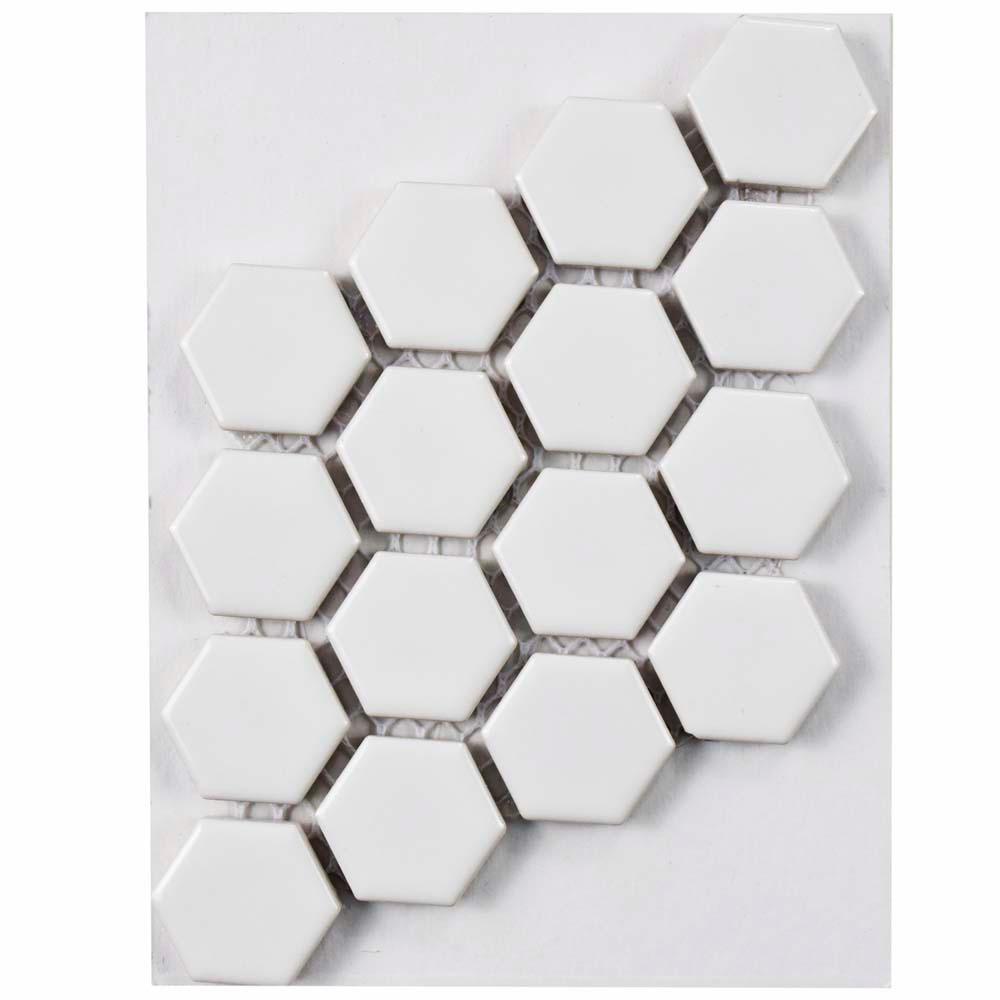 Metro Hex Glossy White Porcelain Mosaic Tile - 3 in. x 4 in. Tile Sample