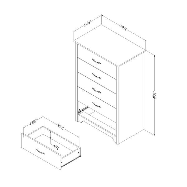 South Shore Fusion 5 Drawer Pure Black Chest Of Drawers 9008035