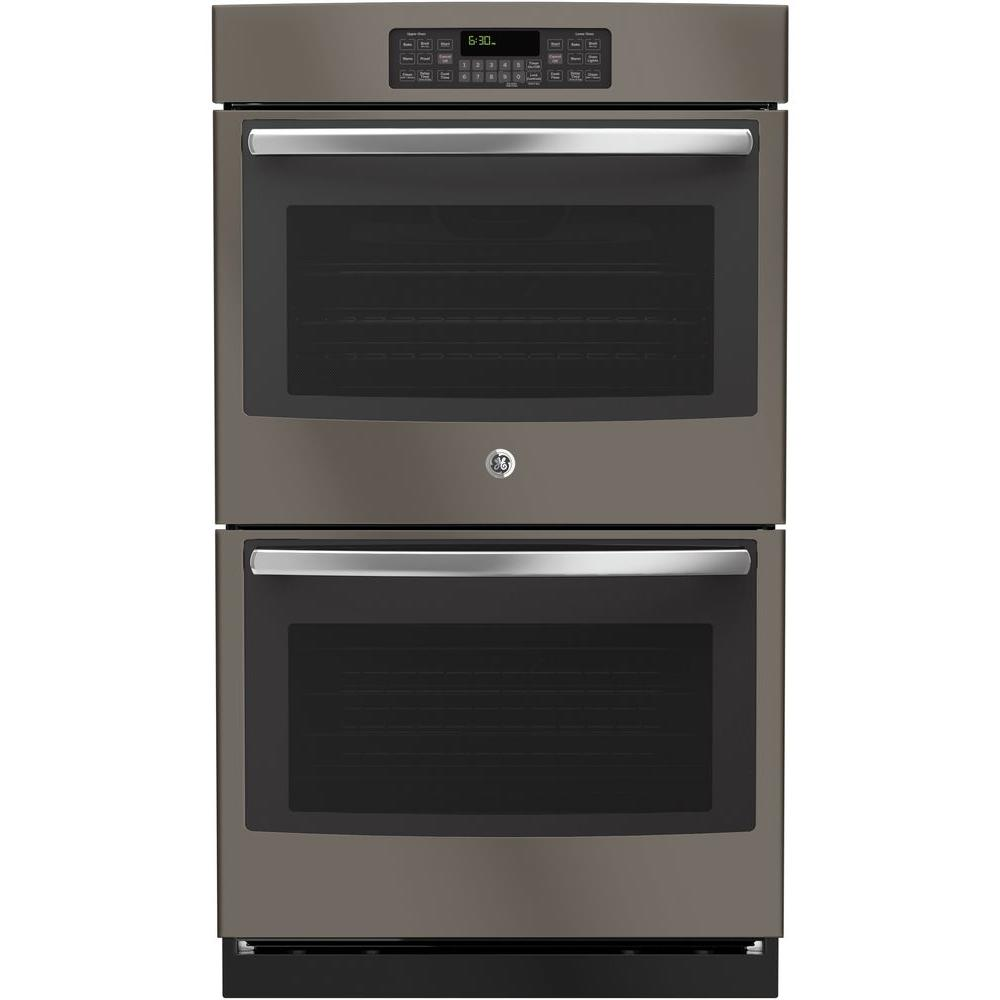 30 in. Double Electric Wall Oven Self-Cleaning with Steam in Slate,