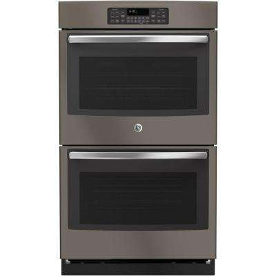 30 in. Double Electric Wall Oven Self-Cleaning with Steam in Slate, Fingerprint Resistant