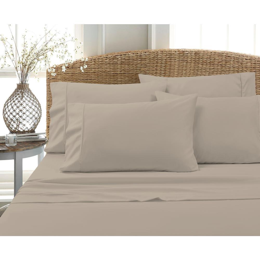 6-Piece Beige Solid Cotton Rich King Sheet Set