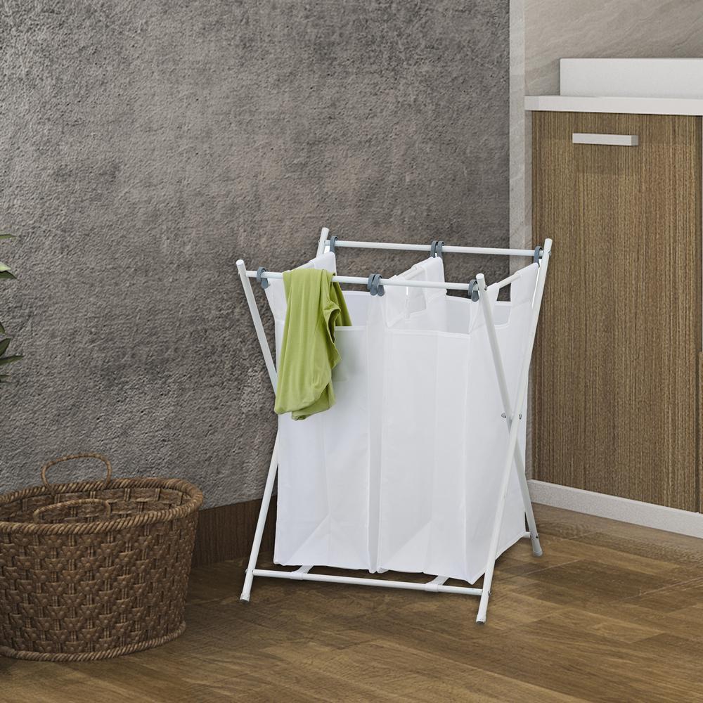 Wayar White Chrome Double Foldable Laundry Sorter