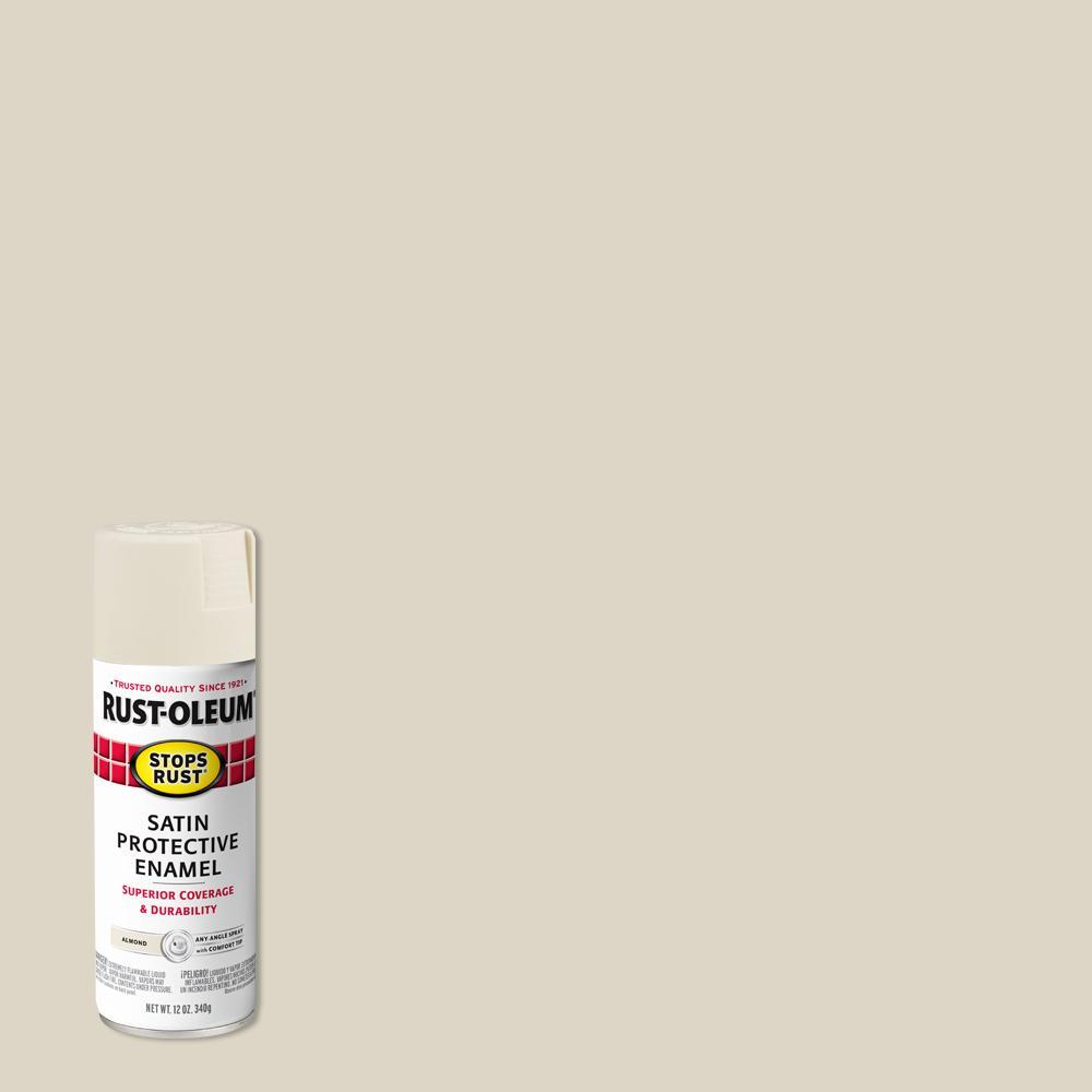 Rust-Oleum Stops Rust 12 oz. Protective Enamel Satin Almond Spray Paint (6-Pack)
